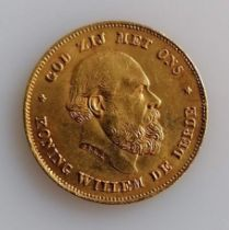 A 10 Guilders (Gulden) Netherlands Willem III gold (.900) coin, 1875, 6.7g