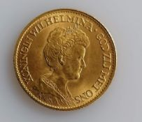 A 10 Guilders (Gulden) Netherlands Wilhelmina gold (.900) coin, 1912, 6.7g