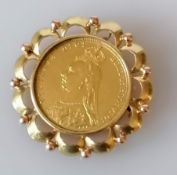 A mounted Victorian gold full sovereign, 1891, mount with Austrian mark for 585, 10.88g
