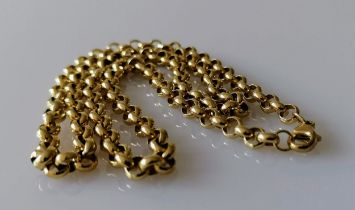 A 9ct yellow gold rollo neck chain with lobster clasp, hallmarked, 52 cm, 26.9g