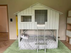 A Mathy by Bols treehouse bunk bed in MDF and pine in good condition, with mattress, some scuffs (