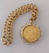 An Edwardian gold half sovereign bracelet, 1905, on a 9ct gold mount and chain, 16 cm, hallmarked,