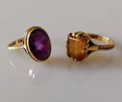 Two mid-century 9ct gold rings, amethyst and citrine, both size P, hallmarked, 7.28g