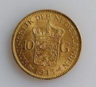 A 10 Guilders (Gulden) Netherlands Wilhelmina gold (.900) coin, 1913, 6.7g
