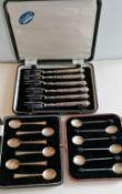 A set of six George V silver coffee bean spoons by C W Fletcher & Son Ltd., Sheffield, 1926; six