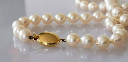 A mid-century necklet comprising fifty-four round/off-round cultured pearls, 7mm to 7.3mm