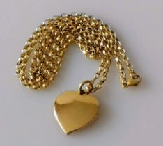 A gold heart-shape pendant, unmarked, tests for 9ct gold and chain, hallmarked 9ct, 58cm, 12.79g