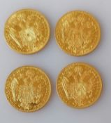 Four Austrian 1915 gold One Ducat restrike coins, each 3.5g (total 14g)