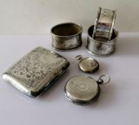 A George V silver cigarette case with etched seaweed decoration, 8 x 7 cm, by E J Trevitt & Sons,