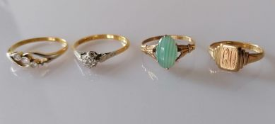 A yellow gold and platinum solitaire diamond ring in an illusion setting and a mid-century three-