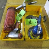 "TOOL BOX W/3 PNEUMATIC TOOLS - HUSKY 1/4"" RATCHET 6"" SANDER AND JETRIGHT ANGLE POLISHER/GRINDERS W/H"