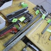 """LOT OF 2 BESSEY BAR CLAMPS 10"""" W X 46"""" L"""