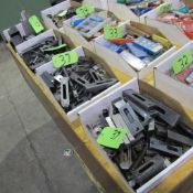 LOT OF 4 BOXES OF MACHINE HOLD DOWNS/SETUP BLOCKS AND SCREWS