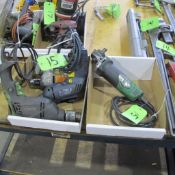 """LOT OF 2 BOXES OF MISC HITACHI, BLACK AND DECKER, ETC., POWER TOOLS (3 CORDED DRILLS AND 1 - 4 1/2"""""""