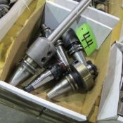 LOT OF 5 CAT 40 TOOL HOLDERS W/CUTTING ATTACHMENTS