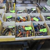 LOT OF 9 BOXES OF HAND TOOLS INCL ALLEN KEYS, FILES, HAMMERS/MALLETS, CUTTERS, CRESCENT WRENCHES DRI