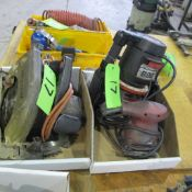 "LOT OF 2 BOXES W/SKILLSAW 7 1/4"" CIRCULAR SAW, CRAFTSMAN ROUTER AND PALM SANDER"
