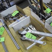 LOT OF 2 BOXES OF ADJUSTABLE WRENCHES , VISE GRIP AND BAR CLAMPS