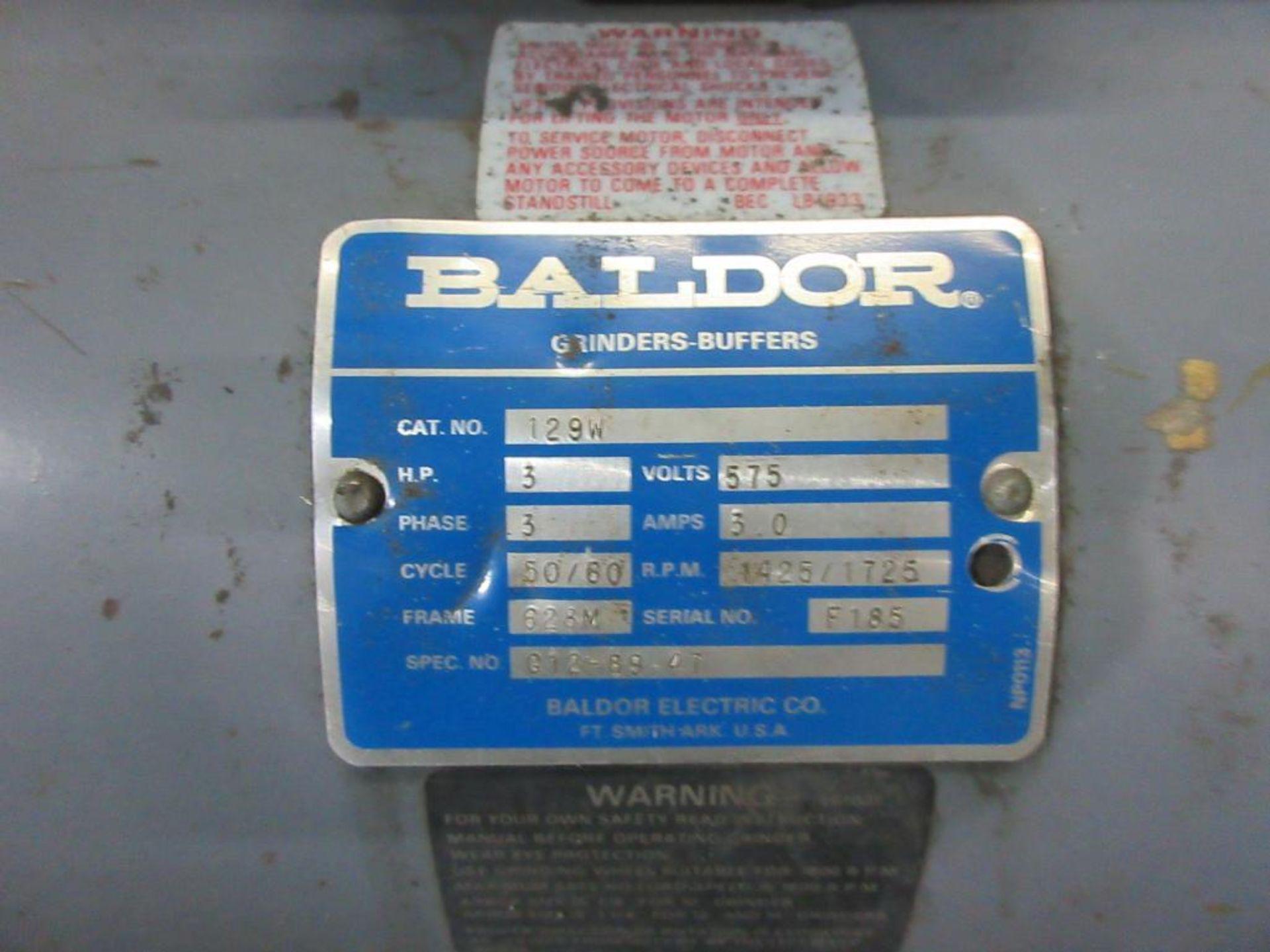 BALDOR DUAL PEDESTAL GRINDER 3 HP, SPARE GRINDING WHEEL - Image 3 of 4