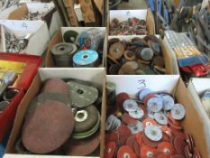 6 BOXES ASSORTED SANDING PAPER, AND GRINDING WHEELS / DISCS