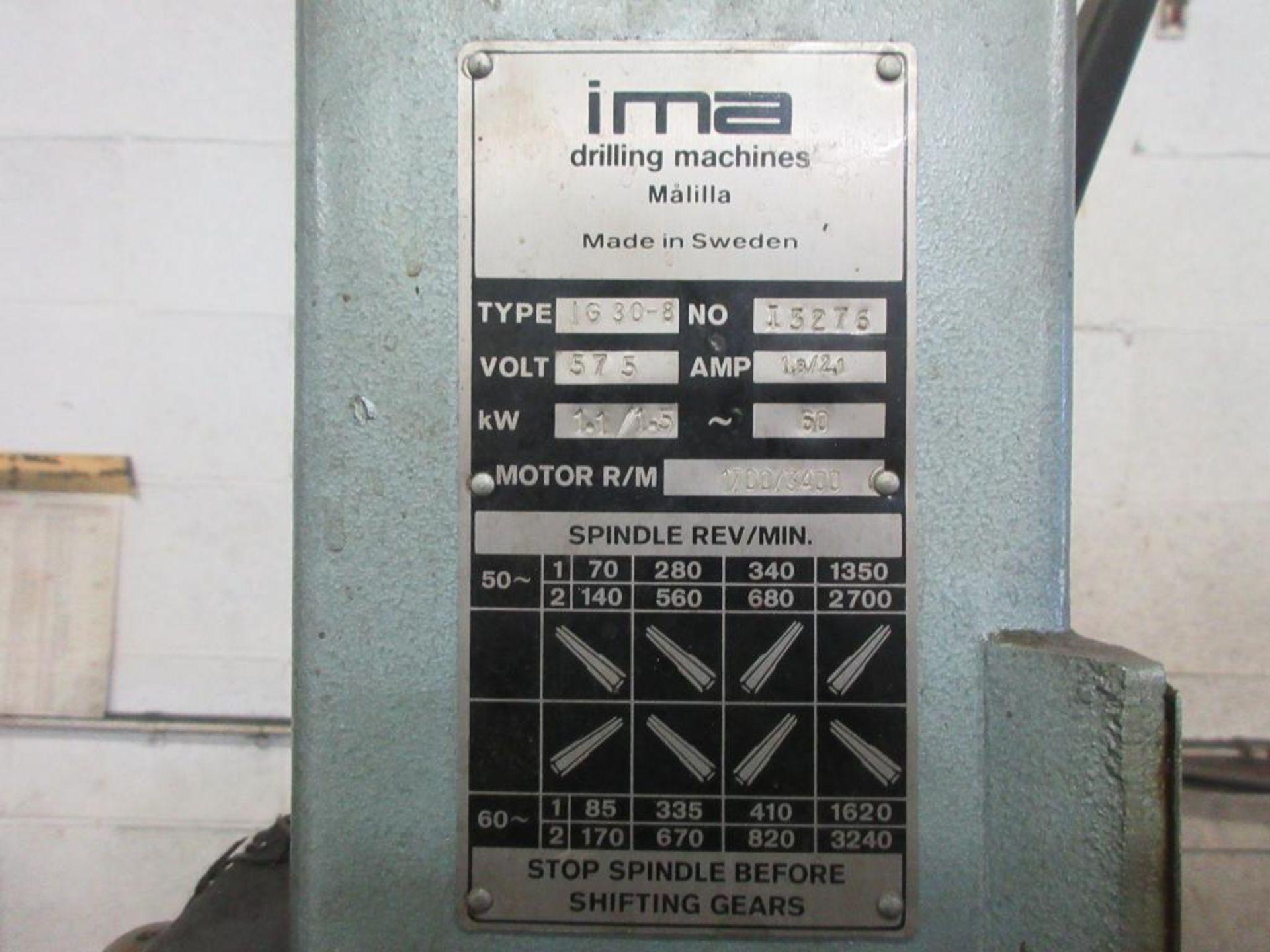 IMA GEARED HEAD DRILL MODEL IG30-8, 1.5 HP, SN I3276 - Image 3 of 3
