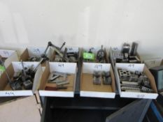 8 BOXES ASSOERTED PRECISION BLOCKS MAGNETIC BASES, CLAMPS ETC