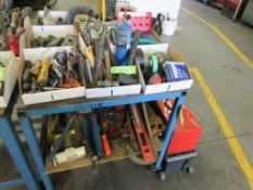 ASSORTED HAND TOOLS, LIGHTS, PIPE BENDER, BAR CLAMP, TOOL BOXES, O RINGS