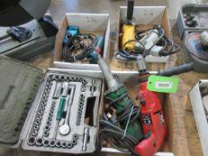 2 ELECTRIC DRILLS, 1 ANGLE GRINDER, 1 HAND GRINDER, 1 ELECTRIC HAND ROUTER, 1 SOCKET SET