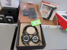(1) AUDIO TECHNICA ATH-M50X HEADPHONES, (1) LOGITECH USB HEADPHONE, (1) STROBOFRAME PROFESSIONAL FLA