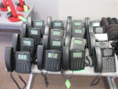 (16) PHONES INCLUDING: (3) POLYCOM DESK PHONES MODEL VVX350, (13) POLYCOM DESKTOP PHONES MODEL VVX31