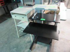 "(2) VINYL FOLDING TABLES 30""X72"", (1) BLACK PORTABLE DESK TABLE, (1) WHITE PRESENTATION TABLE, (1) F"