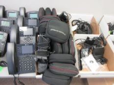 (14) PLANTRONICS WIRELESS HEADSETS, W/ DESKTOP RECHARGE STANDS, (2) BOXES MIXED PLANTRONICS STANDS,