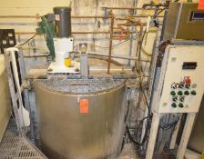 275 gallon direct steam kettle, 21.75 psi, load cells on the feet w/ digital display and control pan