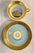 Ansicht Teetasse mit Schwan-Henkel in blauen Fond in Meissener Art