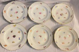6 Meissen Desserttellern mit Streublumen Knaufzeit