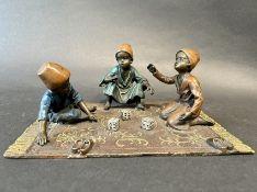 Bronze Figur mit drei Kindern Austria