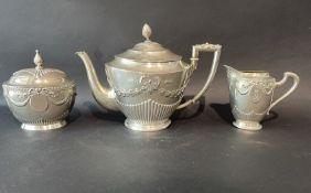 800 Silber Relief Teekanne mit Milch und Zucker