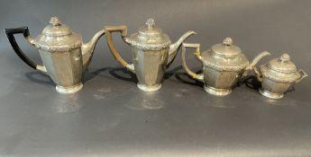 Alte 800 Silber Kaffeekannen mit Holzgriff