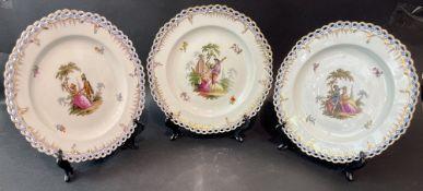 3 Zierteller mit Watteau Szenen, KPM