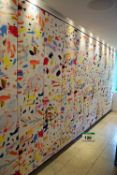 Eleven Abstract Printed Design Padded Linen Wall Panels on Timber Back Boards - 2370mm x 480mm
