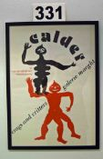 A Wall mounted Framed and Glazed Poster advertising a CALDER Crags and Critters Exhibition in Paris,