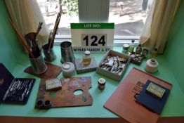 A Quantity of Oil and Watercolour Artists' Paraphernalia for Display Purposes