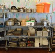 A 1.8M long x 1.95 high Stainless Steel 4-Tier Mesh Framed Castor mounted Catering Rack and Contents