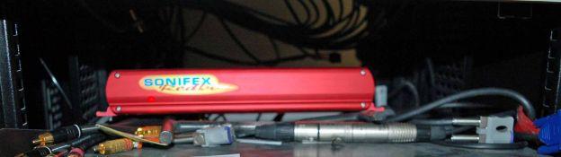 A SONIFEX Red Box Stereo to Mono Converter