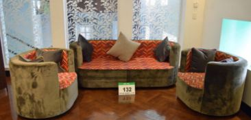 A Tub Style 3-Piece Suite Upholstered in Taupe Velour to Exterior Surfaces and Red/Orange/Yellow/