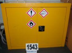 A Yellow Steel Double Door Flammable Storage Cabinet 900mm(l) 450mm(d) x 560mm(h)