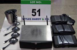 A BARCO ClickShare 200 Screen Sharing System comprising R9861006BEU Wireless Hub, Three CSE 200