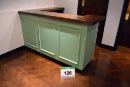A 2550mm x 1650mm 'C' Shaped Reception Counter having Dark Oak Stained Top and Rear Storage with
