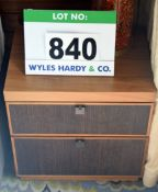 A NOBLE RUSSELL American Black Walnut Brown Embossed Fronted 2-Drawer Bedside Unit