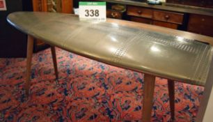 A 2310mm x 1150mm Alloy Clad Reception Table in the form of an Aircraft Tail Wing with Rear